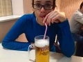 Katie enjoying a beer
