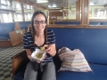 Katie enjoying baklava on the ferry