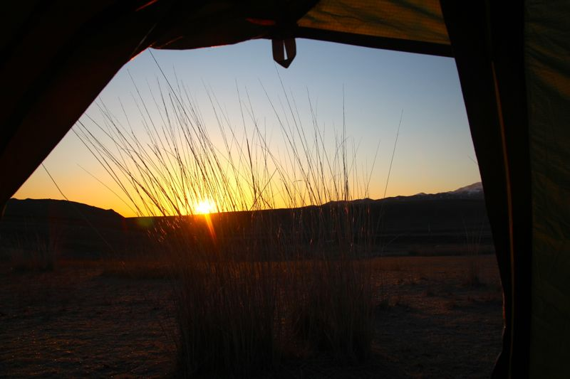 Wild camping sunset