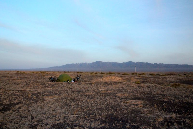 Wild camping in the desert