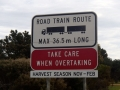 Road train warning sign