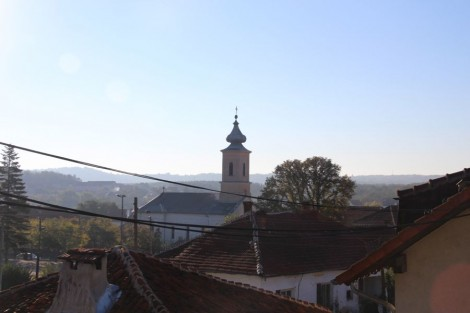 Fantastic church in Jabukovac from our bedroom balcony.