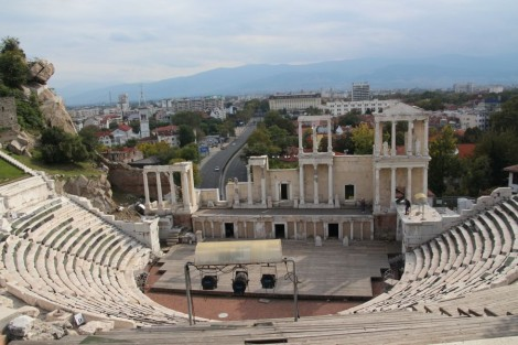 Roman amphitheatre in Plovdiv (strangely they have only recently noticed that these remains were here!)