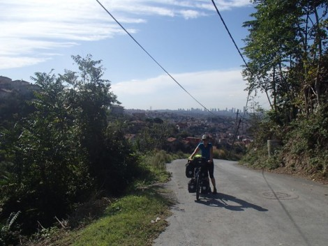 Katie pushing her bike out of Istanbul. A very difficult reintroduction to cycle touring. But the views were incredible and the sun was shining