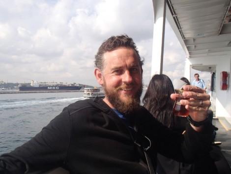 Steven enjoying çay on the way to Europe