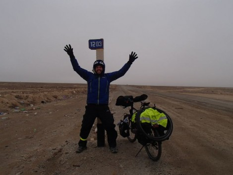 The first of presumably 1203 kilometre markers. As you can see I am very excited to be in Uzbekistan.