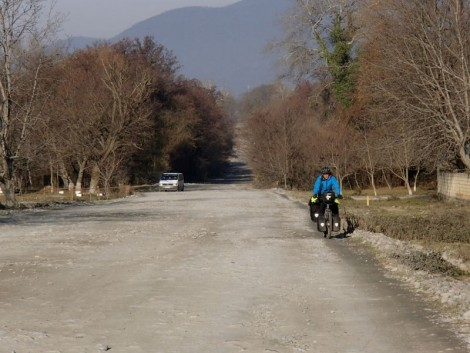 Katie negotiating the gravel section. The photo does not do justice just how hard this was!
