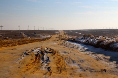 Road out of Beyneu towards the Kazakh border