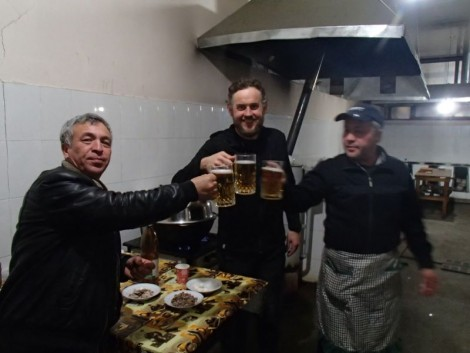 Beer drinking session with the chefs