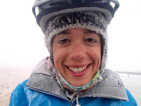 It was so cold that Katie had to cycle without her glasses as they were always fogged up. The smile belies how tough it actually was.