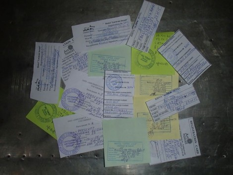 Our pile of Uzbekistan registration slips.