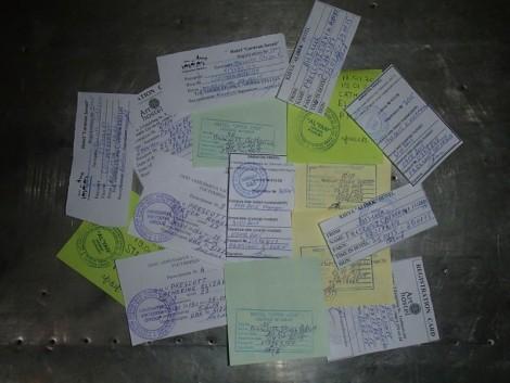 Our pile of Uzbekistan registration slips.