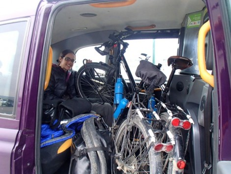 Bikes loaded into the taxi and we are off...