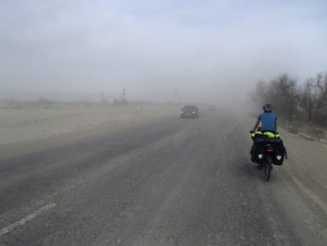 Dust storm enroute to Zharkent made the cycling even more exciting than it should have been!