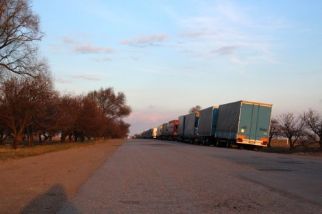 Trucks waiting for the border to open.