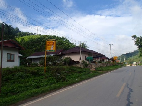 In Laos you can identify guest houses by the all too familiar Beer Lao signs. This photo is less than 15km from the border, so an easy ride.