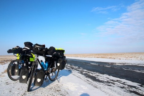 The Uzbek desert on a good day. Winter cycling can be incredibly rewarding.