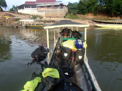 Our precariously positioned bikes crossing the Mekong.