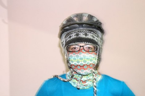 Our face masks were ridiculous; our breath condensed on them and froze. They did keep out most of the windchill though.