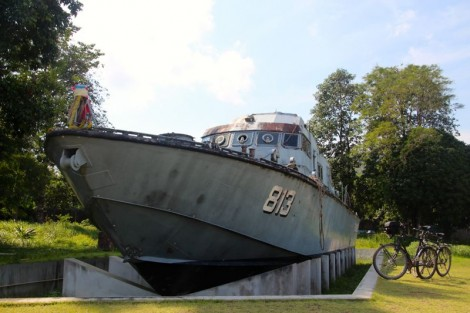 Thai navy boat 813. This has been made the centre of a  tsunami memorial. The boat is basically positioned where it was washed up… some 2km inland and up quite a steep hill!