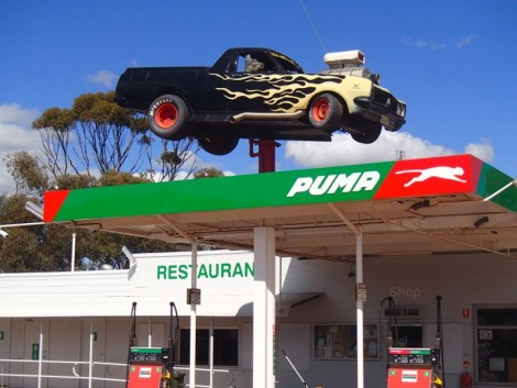 Dog in a ute on a petrol station?!