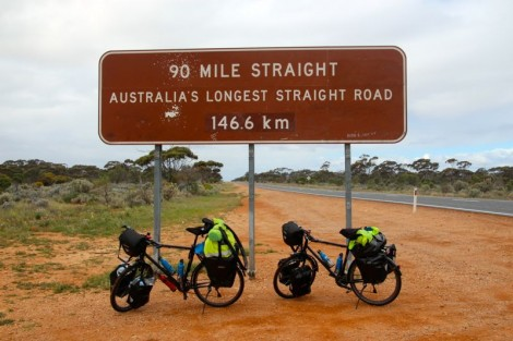 The beginning of the longest straight road in Australia… thankfully we had a very helpful tailwind